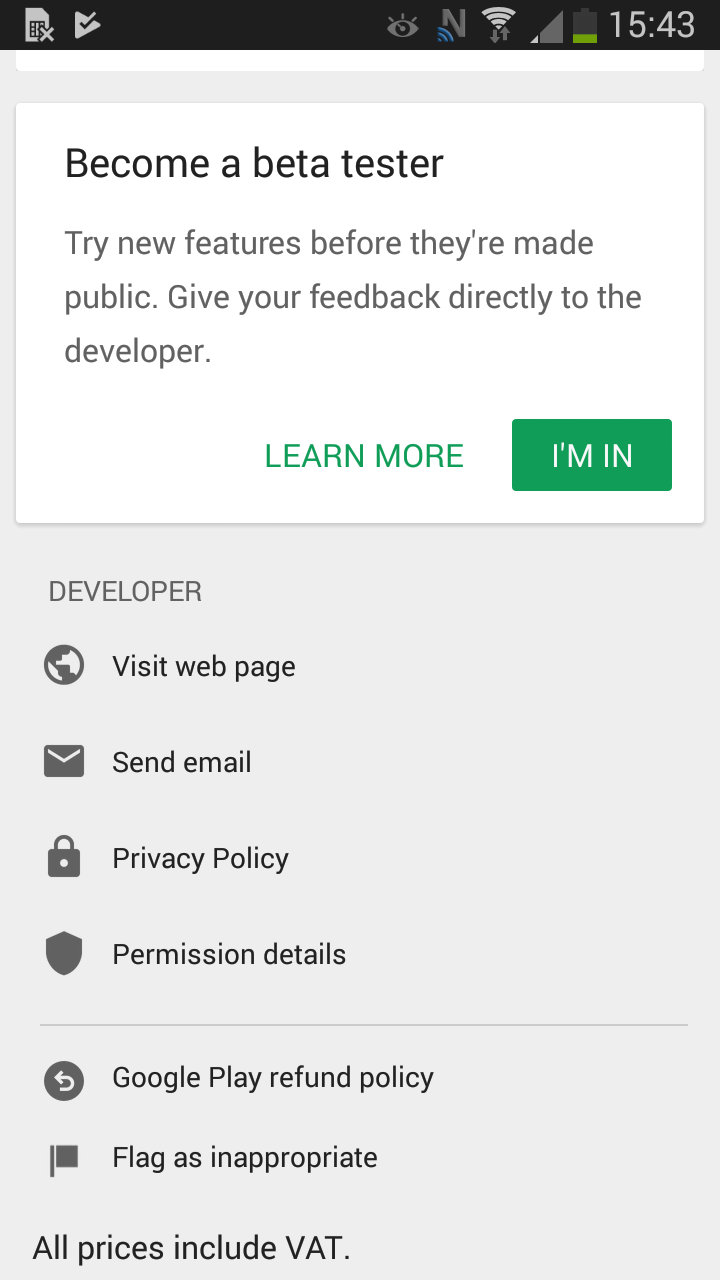 Android beta signup screen